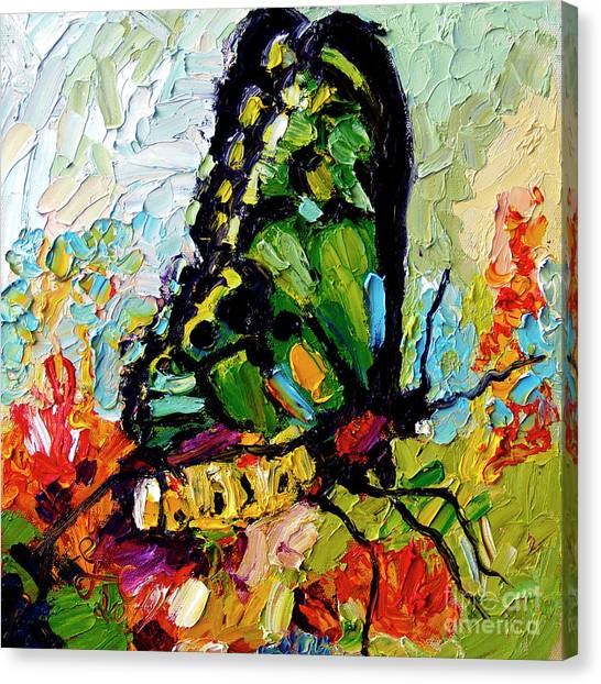 Impressionist Butterfly On Red Flowers Canvas Print