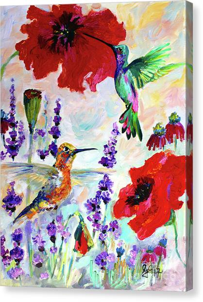 Impressionist Hummingbirds On Red Poppies And Lavender  Canvas Print