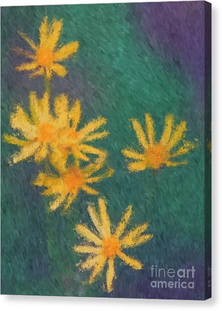 Impressionist Yellow Wildflowers Canvas Print
