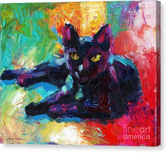 Impressionistic Black Cat Painting 2 Canvas Print