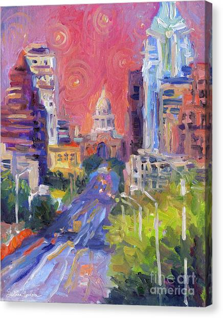 Impressionistic Downtown Austin City Painting Canvas Print