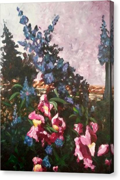 Canvas Print featuring the painting Impressionistic Flowers by Ray Khalife