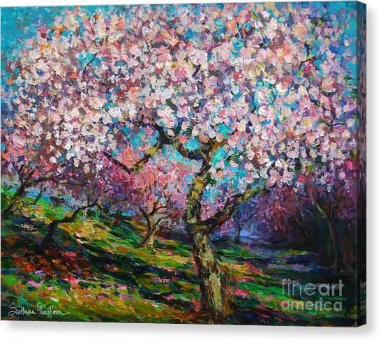 Landscape Canvas Print - Impressionistic Spring Blossoms Trees Landscape Painting Svetlana Novikova by Svetlana Novikova