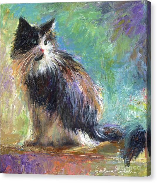 Tuxedo Canvas Print - Impressionistic Tuxedo Cat Portrait by Svetlana Novikova