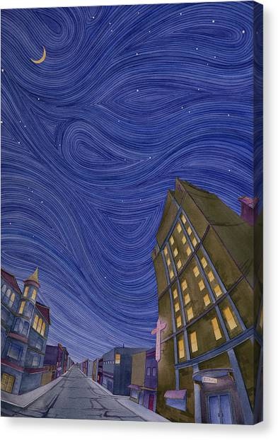 Canvas Print featuring the painting Impressions Of Sedalia Nocturne by Scott Kirby