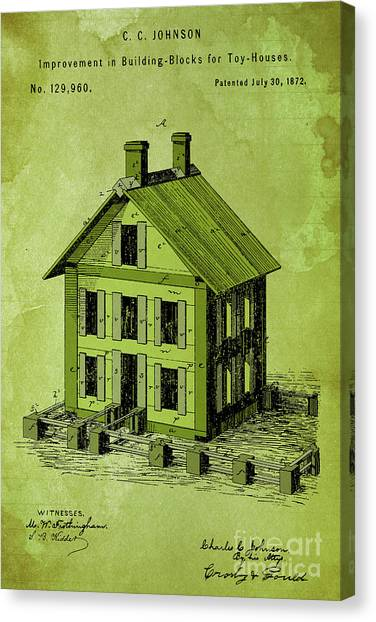 Block Canvas Print - Improvement In Building Blocks For Toy Houses, Patent Year 1872, Green by Drawspots Illustrations