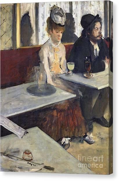 Restaurants Canvas Print - In A Cafe by Edgar Degas