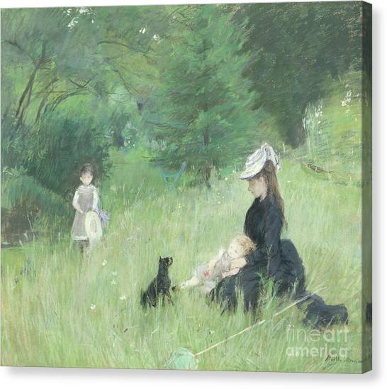 Dog Walking Canvas Print - In A Park by Berthe Morisot