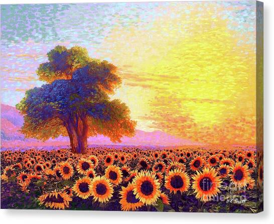 California Landscape Art Canvas Print - In Awe Of Sunflowers, Sunset Fields by Jane Small