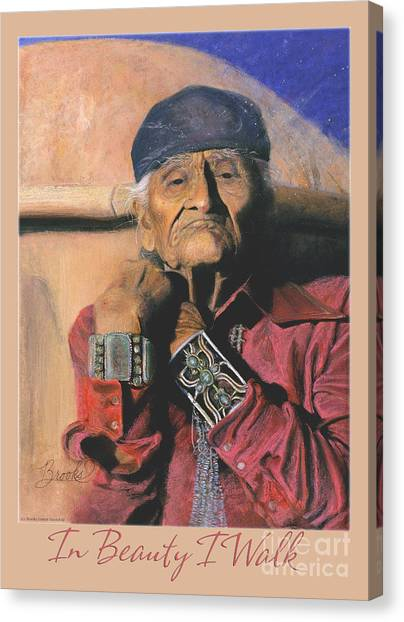 In Beauty I Walk 2 - Pastel Art - Native American Canvas Print