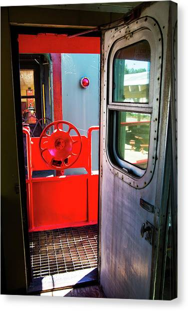 Train Conductor Canvas Print - In Between Cars by Karol Livote