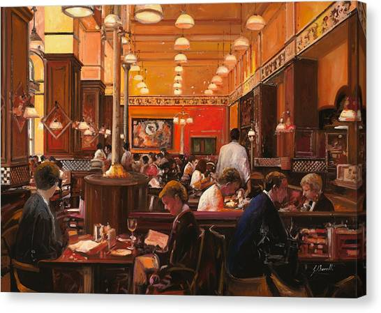 Coffee Shops Canvas Print - In Birreria by Guido Borelli