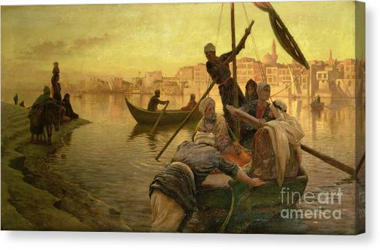 The Nile Canvas Print - In Cairo by Joseph Farquharson