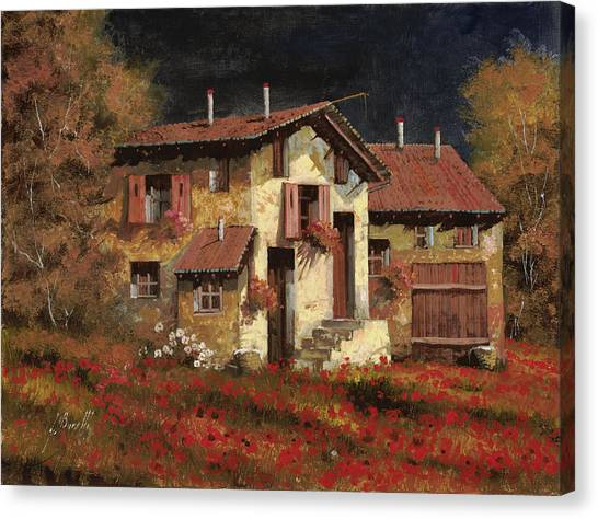 Shutter Canvas Print - In Campagna La Sera by Guido Borelli