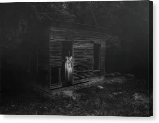 Dilapidated Canvas Print - In Fear She Waits by Tom Mc Nemar