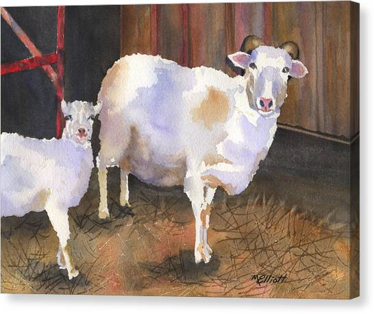 Sheep Canvas Print - In For The Night by Marsha Elliott