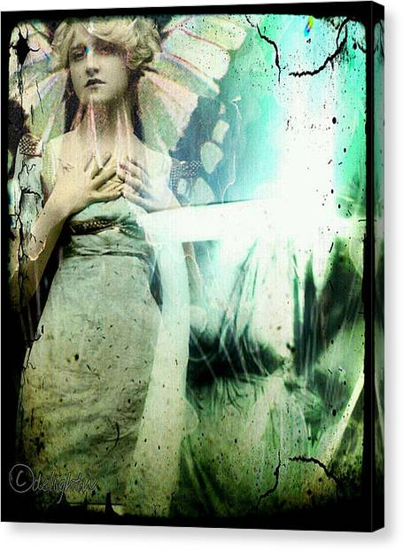 Canvas Print featuring the digital art In Her Dreams She Could Fly Unfettered by Delight Worthyn