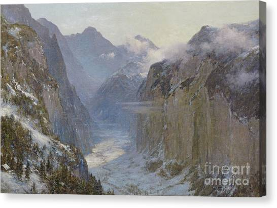 Lauterbrunnen Canvas Print - In His Hands Are The Deep Places Of The Earth by Ernest Albert Waterlow