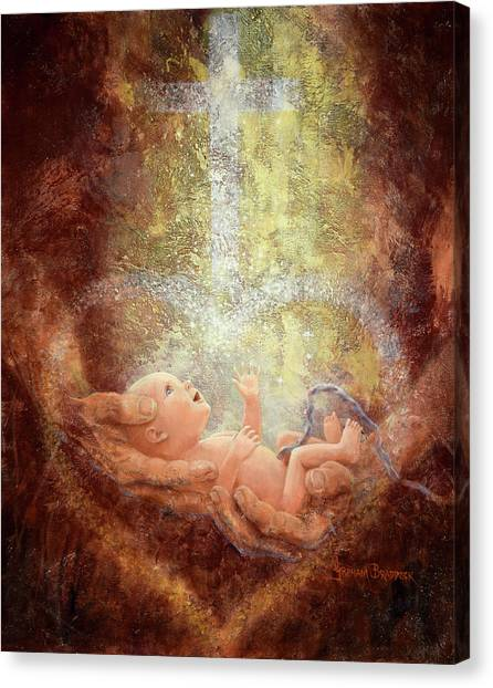 Abortion Canvas Print - In His Hands by Graham Braddock