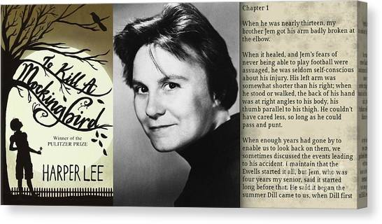034d5fc5928 Text Book Canvas Print - In Memory Of Harper Lee by John Malone