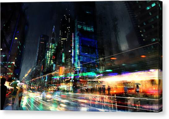Raining Canvas Print - In Motion by Philip Straub