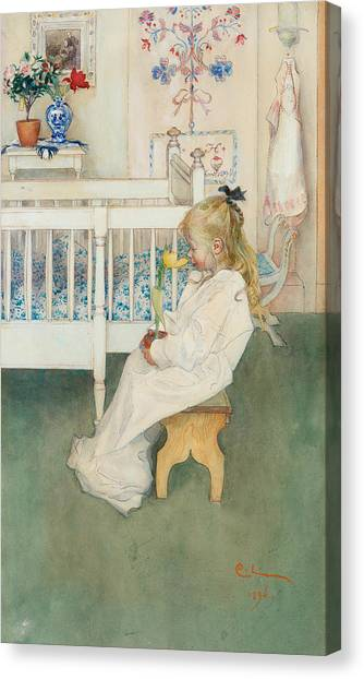 Nightshirt Canvas Print - In Nightshirt - Lisbeth With A Yellow Tulip by Carl Larsson