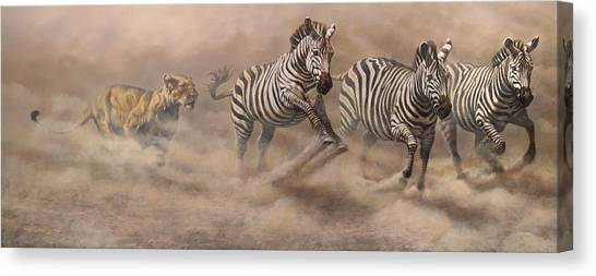 Canvas Print featuring the painting In Pursuit by Alan M Hunt