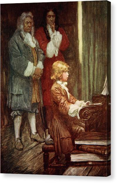 Harpsichords Canvas Print - In Silence They Waited While Handel Played by Arthur C Michael