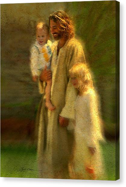 Hand Canvas Print - In The Arms Of His Love by Greg Olsen