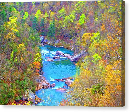 In The Canyon Canvas Print by Judy  Waller