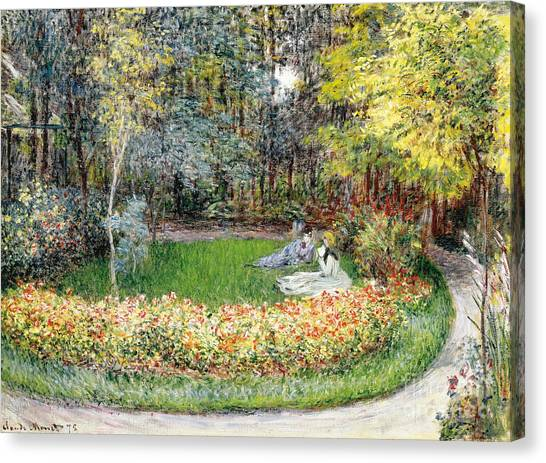 Jardin Canvas Print - In The Garden, 1875 by Claude Monet