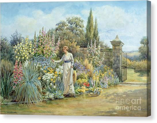 Victorian Garden Canvas Print - In The Garden by William Ashburner