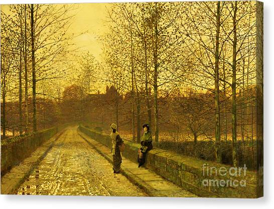 English Canvas Print - In The Golden Gloaming by John Atkinson Grimshaw