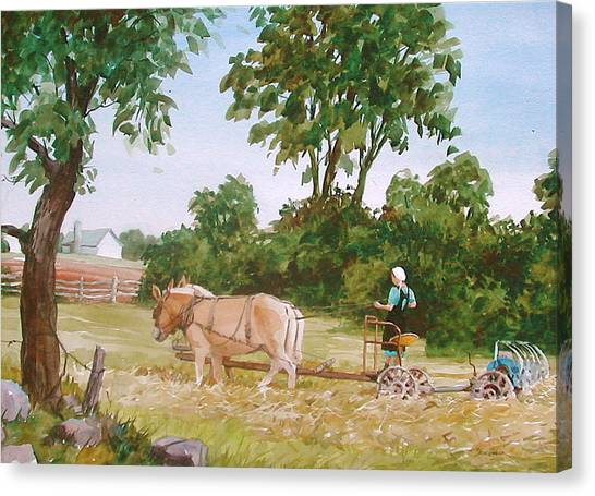 In The Hayfield Canvas Print by Faye Ziegler
