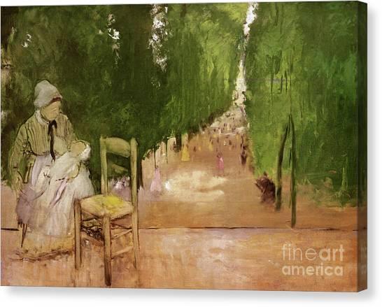 Jardin Canvas Print - In The Jardin Du Luxeumbourg  by Edgar Degas