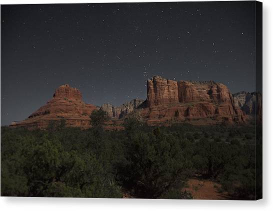 In The Moonlight Bell Rock Courthouse Butte Sedona Canvas Print
