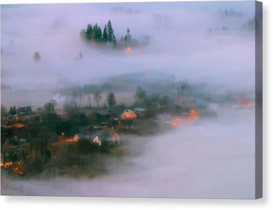 Aerial Canvas Print - In The Morning Fog by Piotr Krol (bax)