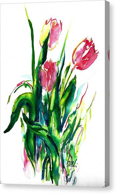 In The Pink Tulips Canvas Print