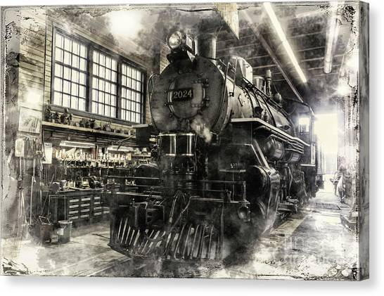 Canvas Print featuring the photograph In The Roundhouse by Brad Allen Fine Art