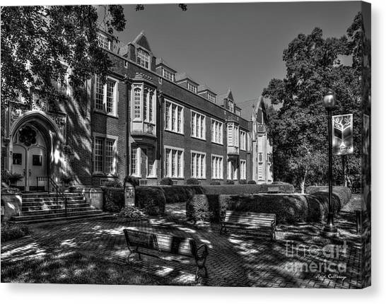 Georgia State University Canvas Print - In The Shade B W Campbell Hall Columbia Theological Seminary Art by Reid Callaway