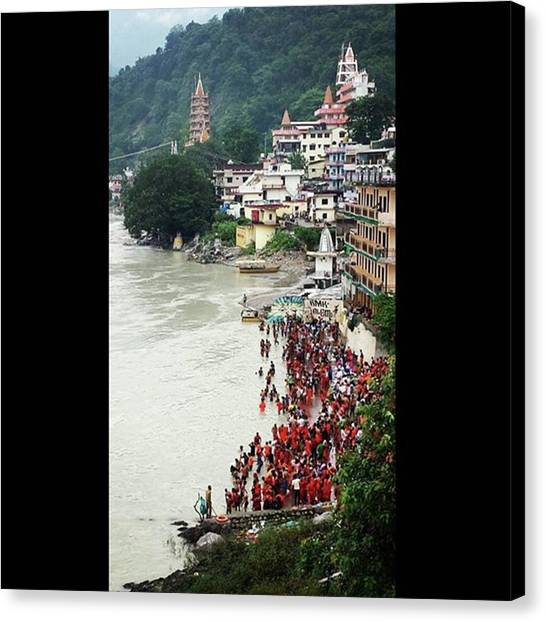 Ganges Canvas Print - In Town For The Shiva Festival. Peeps by Rob Corona