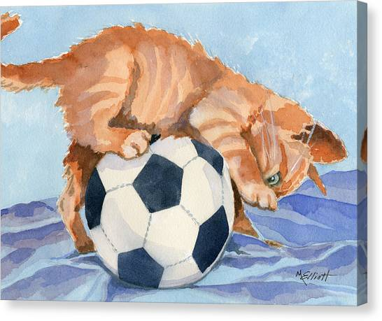 Soccer Canvas Print - In Training by Marsha Elliott