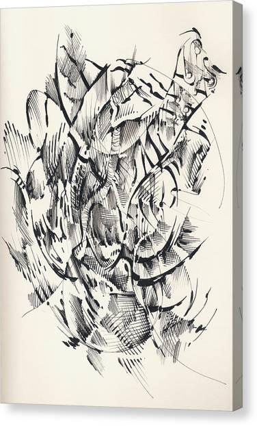 Canvas Print featuring the drawing In Vain by Keith A Link