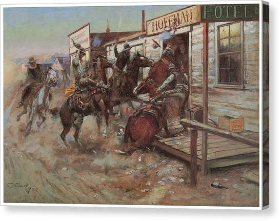 Art In America Canvas Print - In Without Knocking by Charles M Russell