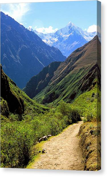 Inca Trail And Mt. Veronica Canvas Print by Alan Lenk