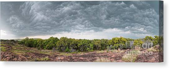Thunderclouds Canvas Print - Incoming Ominous Supercell Over Inks Lake State Park - Burnet County Texas Hill Country by Silvio Ligutti