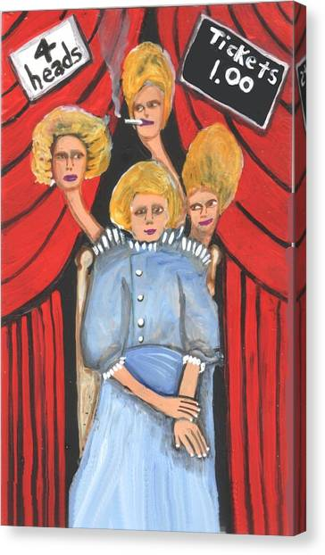 Incredible 4 Headed Woman Canvas Print