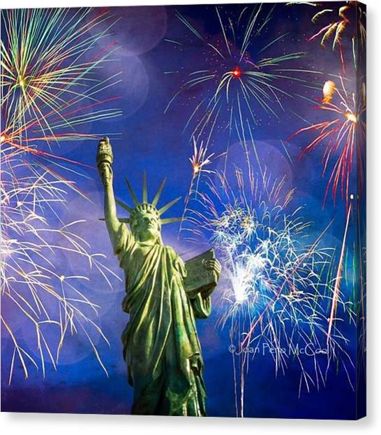Fireworks Canvas Print - #independenceday #fireworks#alkibeachwa by Joan McCool