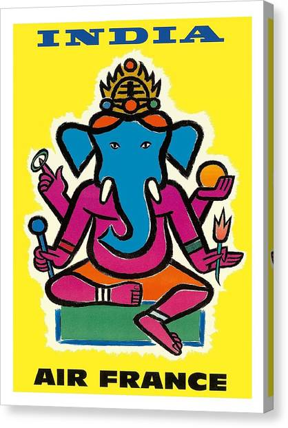 Hinduism Canvas Print - India Air France Hindu Lord Ganesha Vintage Airline Travel Poster By Jean Carlu by Retro Graphics