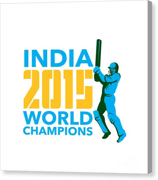 Cricket Players Canvas Print - India Cricket 2015 World Champions Isolated by Aloysius Patrimonio